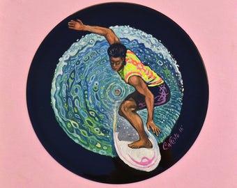 """Vinyl Record Art painting """"Surf Rider"""""""