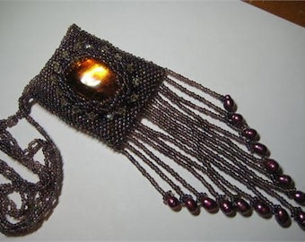 Beaded Medicine Bag Necklace, Amulet Bag, hand beaded in brown