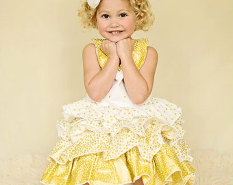 Girls Stunning Gold Shimmer Ruffle Dress, sizes 6 months to 8 years, by SunLoveShirts