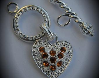 Genuine Large Silver Plated Swarovski Crystal Heart Toggle Clasp - Topaz