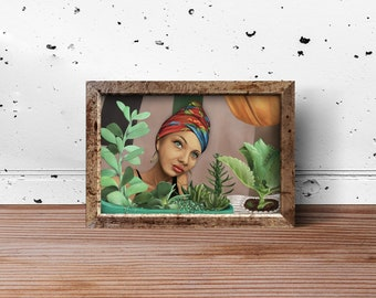 Kamila and her plants painting art print