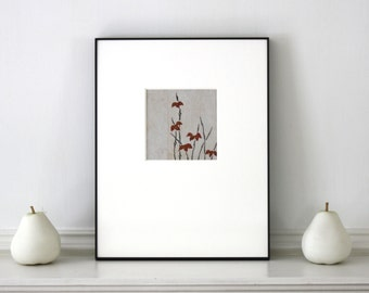 Vintage Japanese Woodblock Botanical Gray Red Framed 11 x 14 inches Tokyo 1930s - 1940s