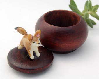 Tiny Wood Trinket Box with Lampwork Glass Fennec Fox Topper Knob/Finial