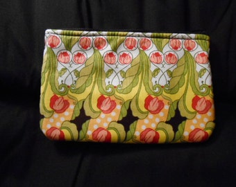 Large Handmade Coin Purse, wallet, change, make-up case,  flowers