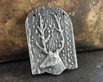 Deer Pendant, Handmade Jewelry Supplies, Animal Pendant, Handcrafted Jewelry Pendant, Jewelry Making, Hand Cast Pewter Pendant - No. 38PD