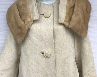 Brocade Swing Coat With Fur Collar, 50's 60's Vintage, Original By Golet, Size Small