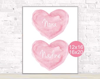 Sisters Poster, 12x16, 16x20, Twins Poster, Sisters Poster, Girl Baby Shower Gift, Twin Girls Nursery, Sisters Wall Decor, Best Friends