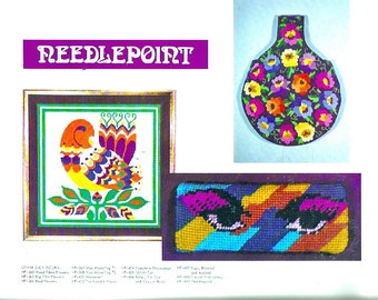 Psychedelic 70s Flashback needlepoint and stitches designs and patterns vintage how to booklet By Lynn Paulin DIY step by step instructions