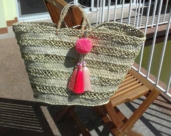 Basket Tote lace basket, lace, straw, strawbasket, strawbag, beachbag, beachbasket, beach basket, fashion