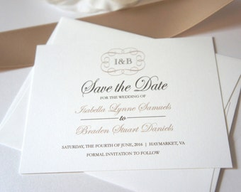 Wedding Save the Date, Save the Date Card, Monogram Save the Dates, Classic Save the Date - DEPOSIT
