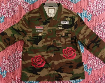 Army Fatigue Jacket/Camouflage with Patches
