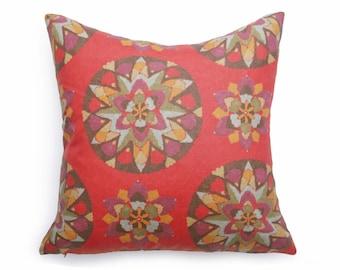 Red Suzani Pillows, Bohemian Pillow Case, Watermelon Pink Pillow, Red Boho Pillow Cover, 12x18 Lumbar, 14x20, 16, 18, 20 Cushion, 20x26