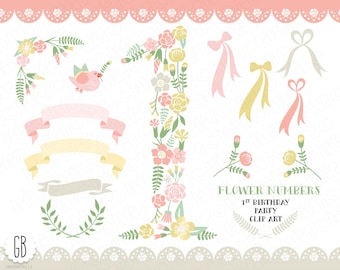 Floral number, flower type, baby girl 1st birthday party, clip art, vector, flowers, invitation, nursery decoration