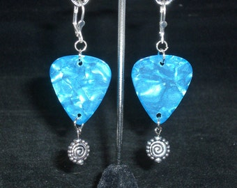 Earrings, dangle, blue guitar pick with silver accent charm