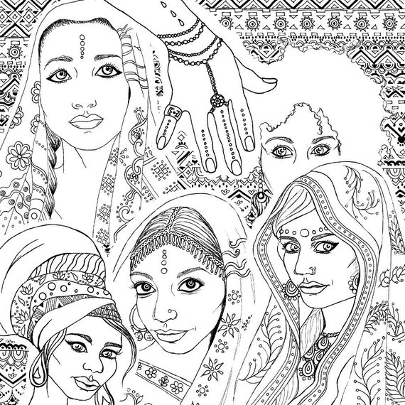 Coloring Book For Adults Indian Amp African Fashion Portraits