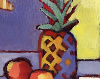 The Pineapple Motif Original Abstract Still Life Oil Painting on Canvas