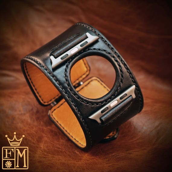 Leather Apple watch Watchband black Traditional American Elevated ROCKSTAR Bracelet made for YOU in New York by Freddie Matara