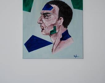 Painting on canvas Men painting Portrait Profile Men Profile painting Men profile Canvas painting Abstract painting men Abstract painting
