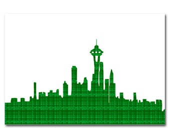 Seattle Skyline in green- Fine Art Print, Modern, Decor, Wall Art, City, Home Decor, skyline, seattle skyline