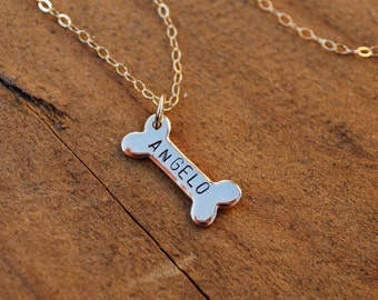 Personalized dog bone necklace, bronze bone, hand stamped bone, pet necklace, pet remembrance, gold bone