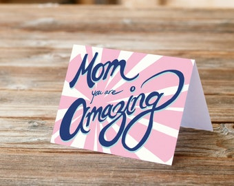 Mom Amazing Mother's Day Mother Greeting Card Love you mom appreciation handlettering font retro