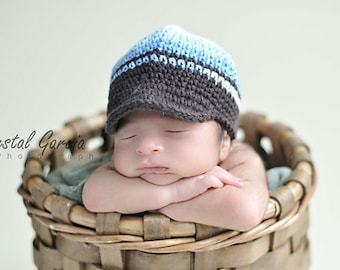 0-3 Months Blue Hat, Boys Hat, Crochet Hat, Stripes Hat, Baby Hat, Childrens Hat, Newsboy Hat, Hat with Brim, Baby Beanie, winter hat