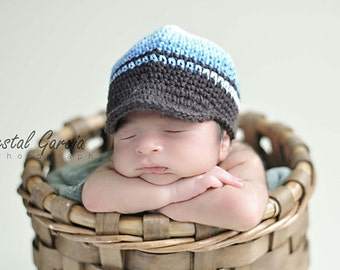 0-3 Months Blue Hat, Boys Hat, Crochet Hat, Stripes Hat, Baby Hat, Childrens Hat, Newsboy Hat, Hat with Brim, Baby Beanie, winter hat