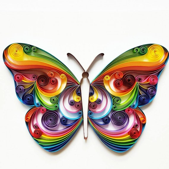 Quilled paper art colourful butterfly handmade for Quilling strips designs