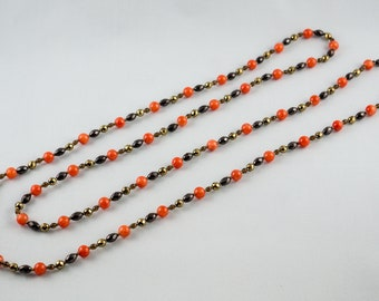 Orange Jade and Brown Hematite, LONG necklace perfect for Aries, Scorpio, Cancer and Libra zodiac signs