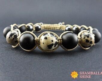 Dalmatian jasper jewelry Beige black beads Unisex gemstone bracelet Shungite jewelry Shamballa gemstone bracelet Beaded amulet bracelet