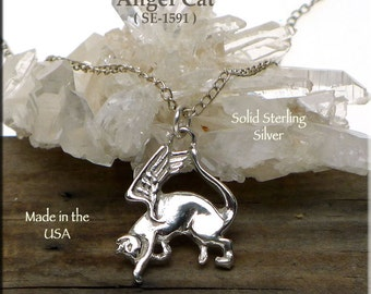 Sterling Silver Angel Cat Pendant , .925 Silver Cat with Angel Wings Necklace, Cat Memorial Jewelry - SE-1591