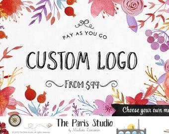 Aquarell Blumen Logo Design Prepaid Custom-Logo-Design-Website Logo Blog Logo Business Brandstempel Logo Boutique Logo Hirsch Floral Logo