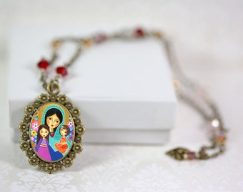 """Jewelry Handmade Art Pendant Necklace """"Virgin Mary and Two Girls""""-art by EvonaGallery"""