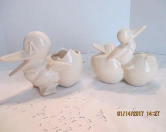 McCoy Pottery pair of cream or white DUCKS   cute