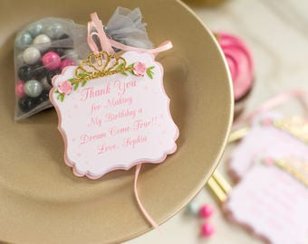 1st pink princess favors - princess thank you tags - princess birthday tag - princess party tag - princess birthday favor tags