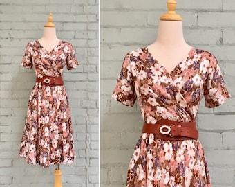 1980s floral wrap dress / 80s floral party dress / 1980s pink satin midi dress