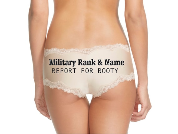 Personalize a Military Rank and Name Report For Booty Nude Cheeky Panty * FAST SHIPPING * Surprise Your Soldier When They Return Home