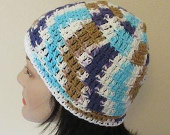 White Tan Blue Purple Beanie, Spring Beanie, Summer Beanie,Cotton Hat, Women's Beach Hat, Summer Hat, Spring Hat