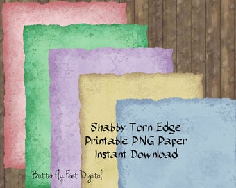 PNG Torn Edge Paper, Letter Size, Art Journaling, Unlined Stationery, Shabby Torn Edge, PNG Images, Instant Download
