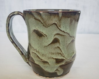 Handcrafted Wheel Thrown Ceramic Coffee Mug - Two Layer Green Glaze