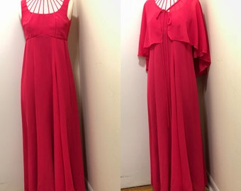 Vintage High Neck Maxi Dress with Cape
