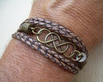 Double Infinity Leather Bracelet with Antique Bronze Hardware, Infinity Bracelet, Infinity, Mens Bracelet, Womens Bracelet, Mens Jewelry,