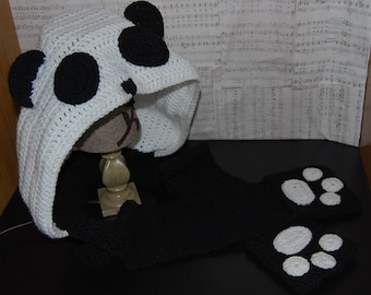 Panda Hooded scarf (scoofie) with pockets