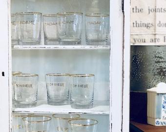 Madame + Monsieur Glasses | Gold-rimmed | Lo-ball | Barware | Drinking Glass | Brassiere | Barware | French Glasses