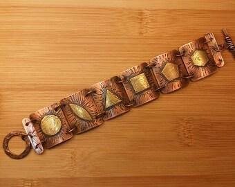 Copper and Brass Polygon Bracelet