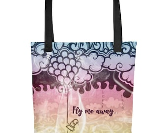 FLY ME AWAY All Over Tote | Tote Bag | All Around Bag | Everyday Tote Bag