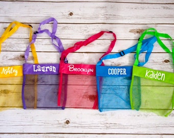 Personalized and Blank Seashell Collecting Beach Mesh Bags - 5 Colors Kids