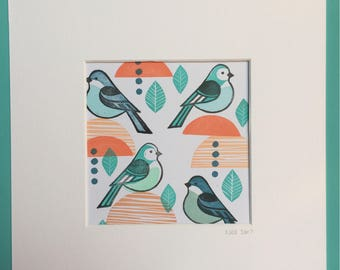 Funky Bluebirds - unique hand stamped art print
