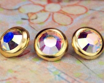 10 pressions de cheveux cristal Aurora Borealis - rondes en or jante édition--faite avec des strass Swarovski Element