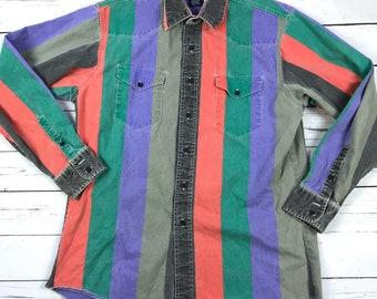 Vtg 90s WRANGLER Western Retro Colorblock Striped Long Sleeve Shirt 16 1/2-34